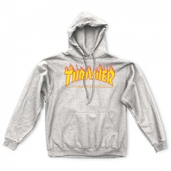 Flame Logo Hood Gray - THRASHER