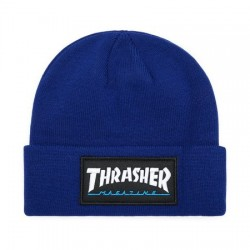 Logo Patch Beanie Blue - THRASHER