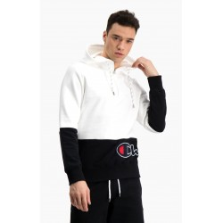 FELPA CON CAPPUCCIO COLOUR BLOCK HALF ZIP - CHAMPION