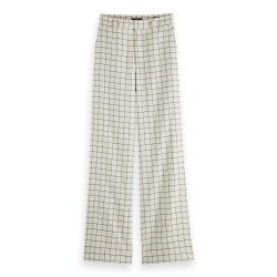 'EDIE' TAILORED WIDE LEG PANTS IN CHECK - MAISON SCOTCH