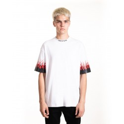 Black-Red Double Flames White T-shirt - VISION OF SUPER